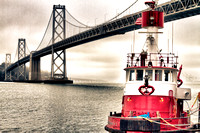Bay Bridge and Fireboat, San Francisco